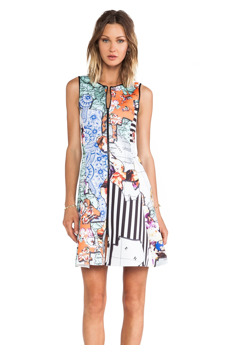 Clover Canyon Floral Silhouettes Neoprene Dress in Multi