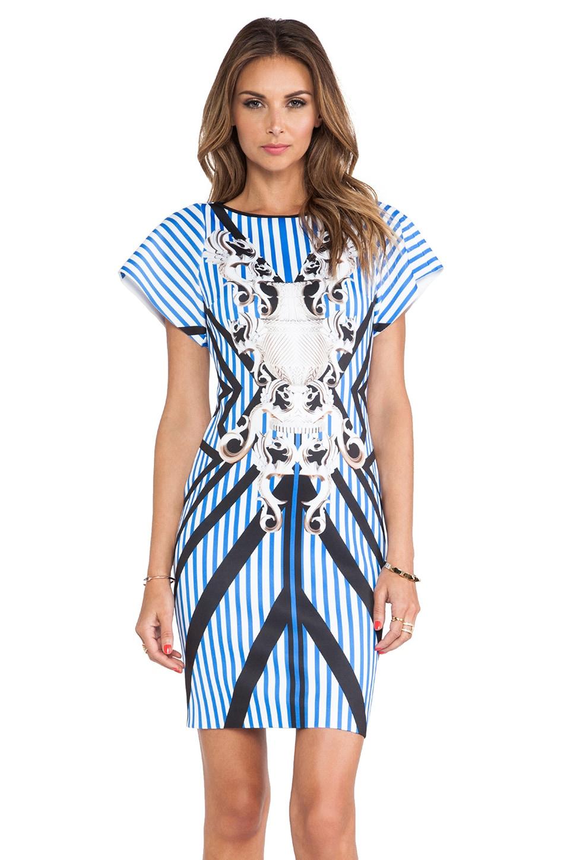 Clover Canyon Striped Sculpture Neoprene Dress in Multi