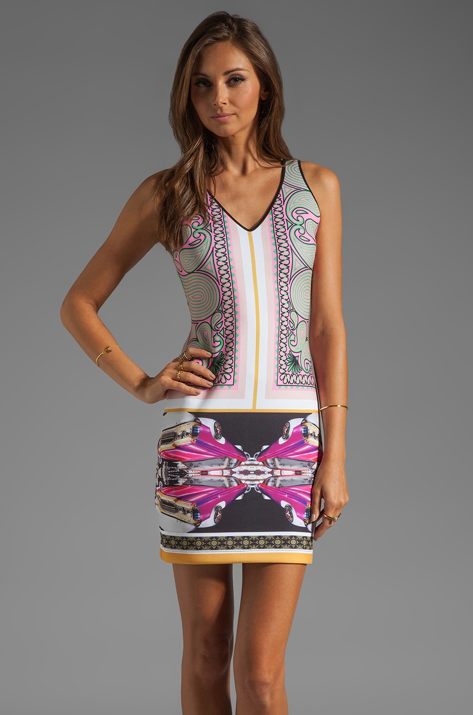 Clover Canyon Candy Cars Neoprene Dress in Multi