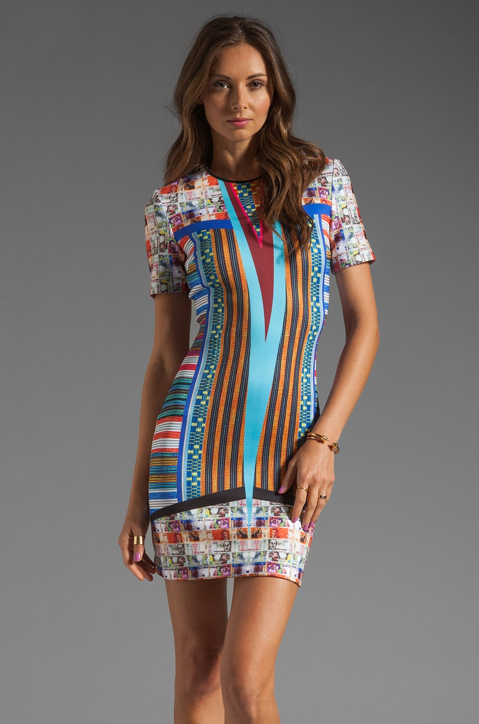 Clover Canyon Woven Pesos Neoprene Dress in Multi