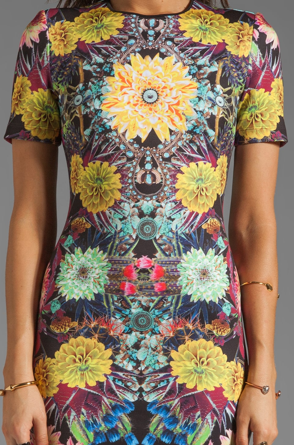Clover Canyon EXCLUSIVE Turquoise Valley Neoprene Short Sleeve Dress in Black Multi