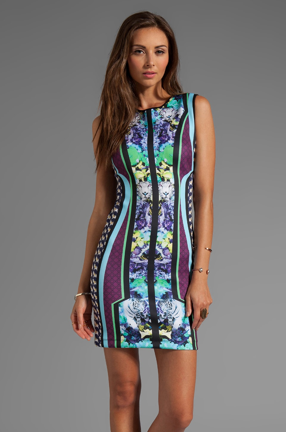 Clover Canyon Graphic Flowers Neoprene Dress in Multi