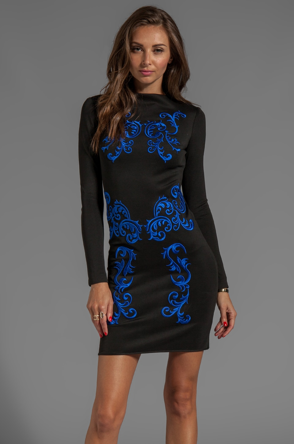Clover Canyon Embroidery Neoprene Dress in Black/Cobalt