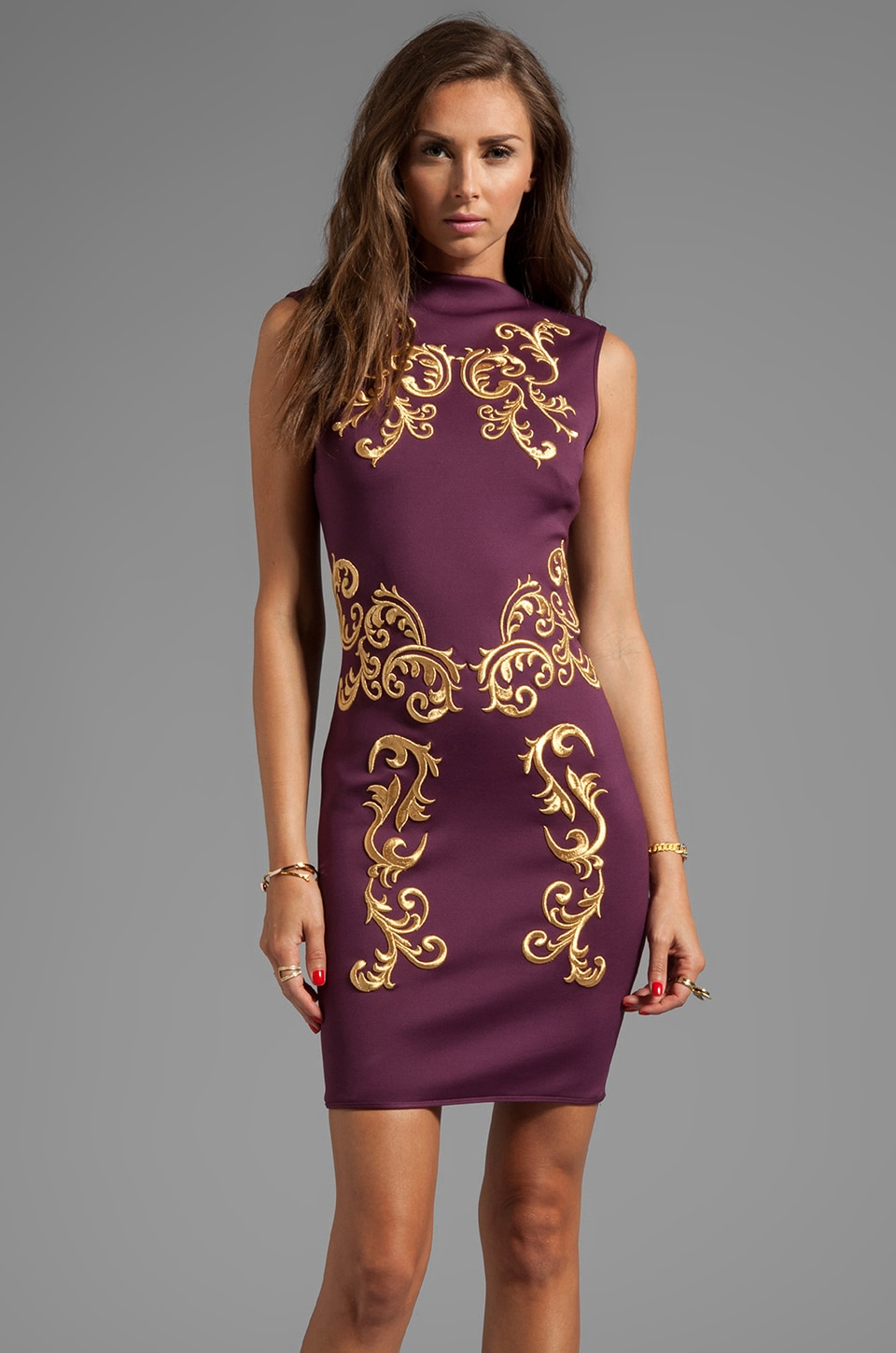 Clover Canyon Embroidery Neoprene Dress in Merlot/Gold