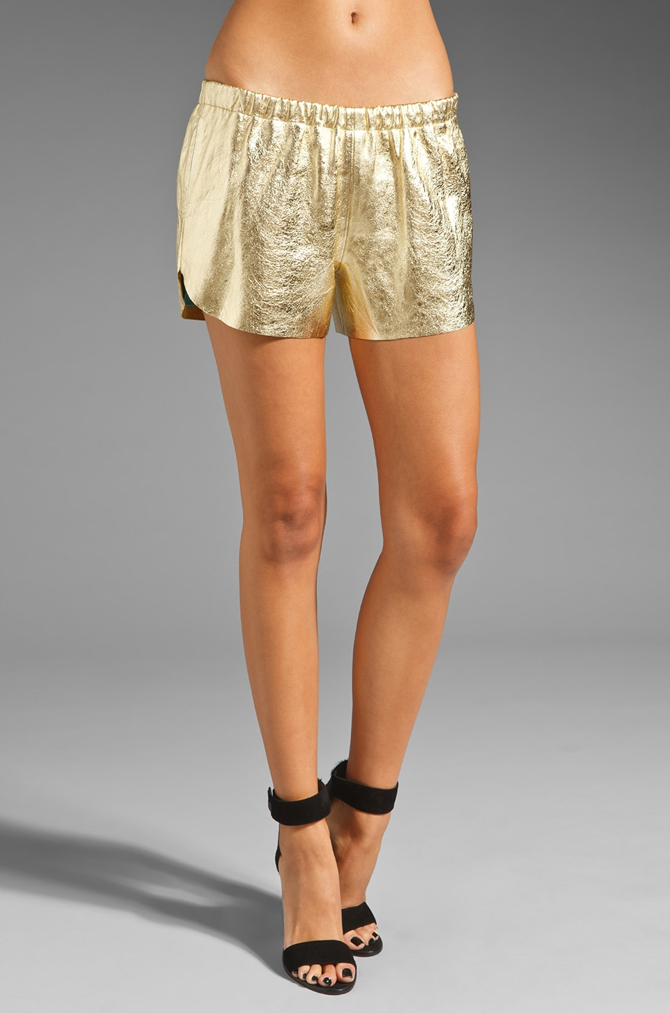 Clover Canyon Leather Short in Metallic Gold