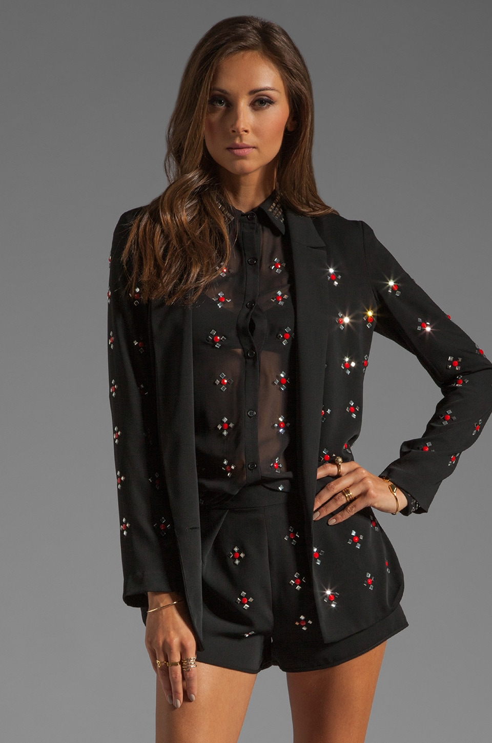 Clover Canyon Rhinestone Soft Suiting Jacket in Black