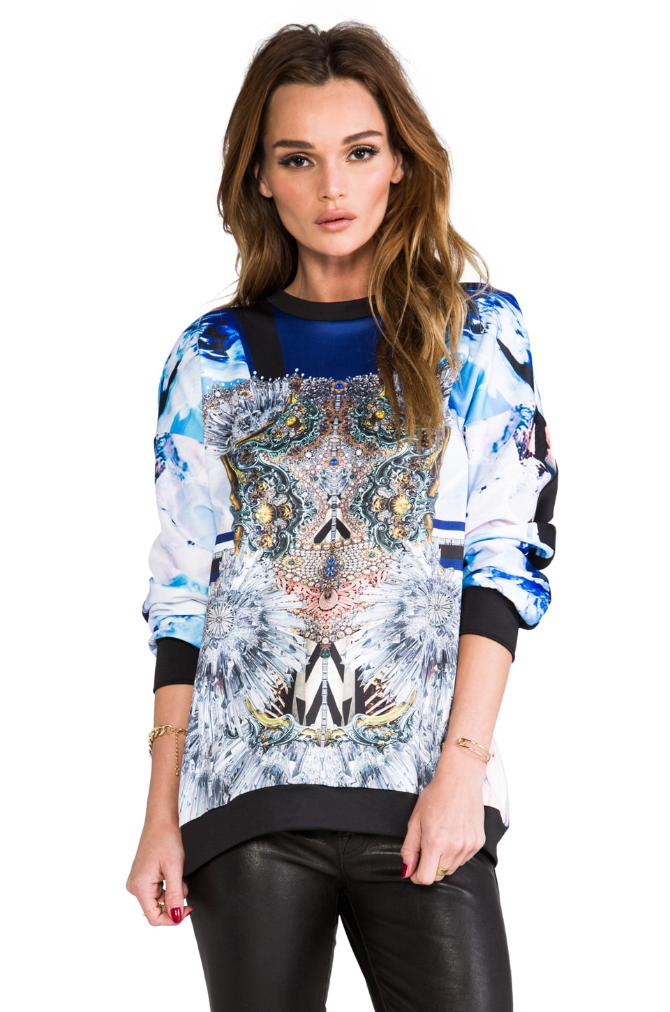 Clover Canyon Crystal Corset Sweatshirt in Multi