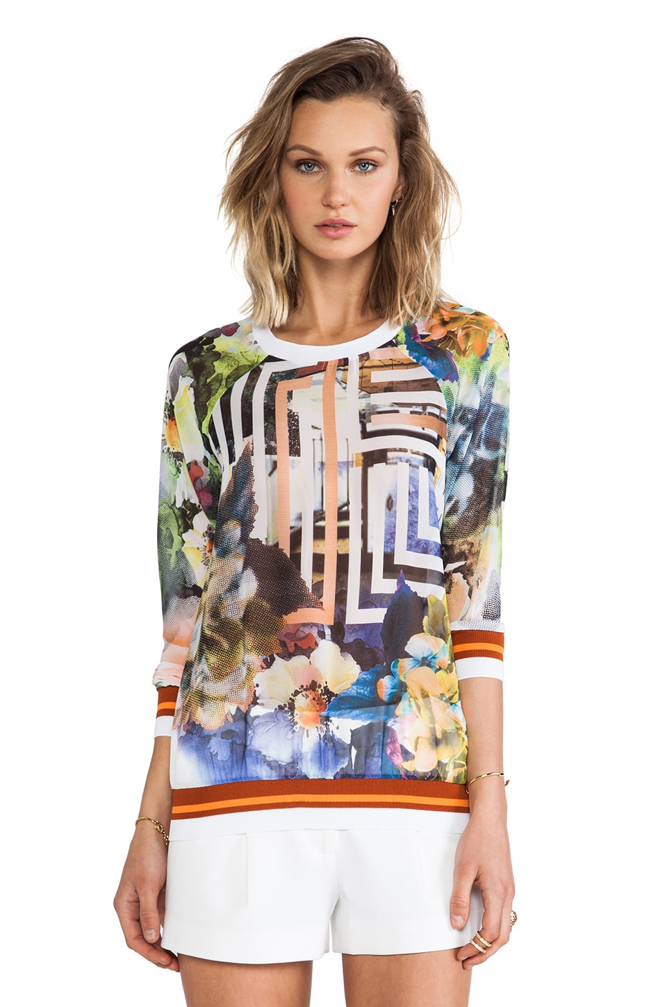Clover Canyon Floral Maze Chiffon Sweatshirt in Multi