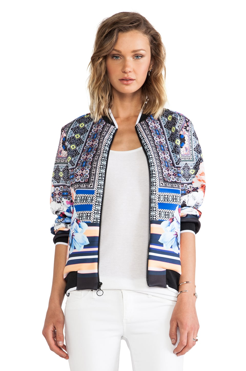 Clover Canyon Byzantine Scarf Neoprene Bomber Jacket in Multi