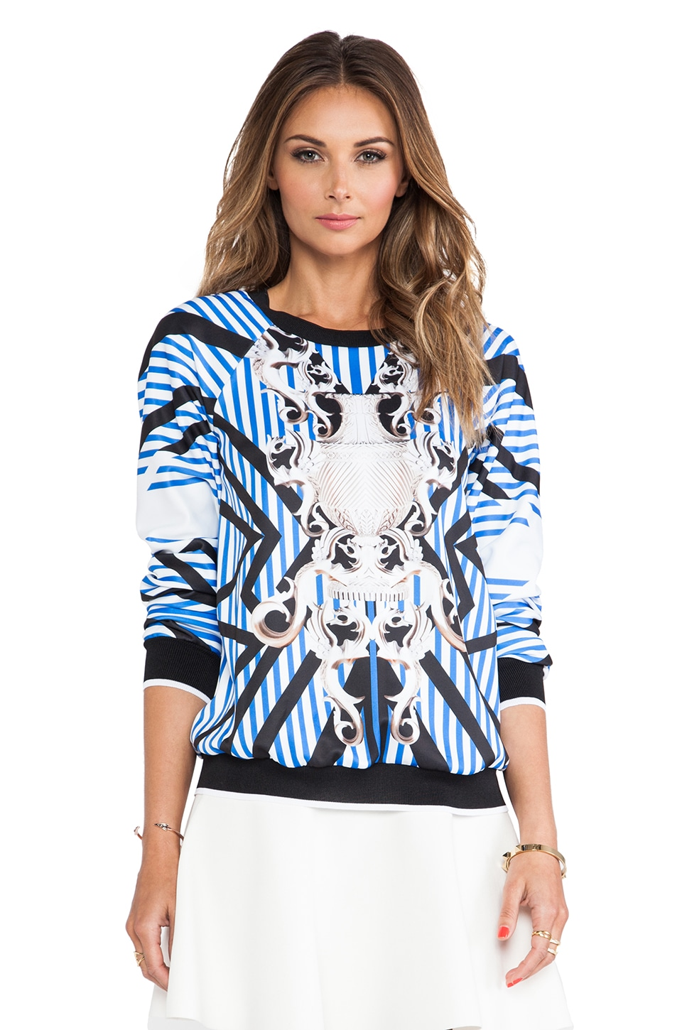Clover Canyon Striped Sculpture Sweatshirt in Multi