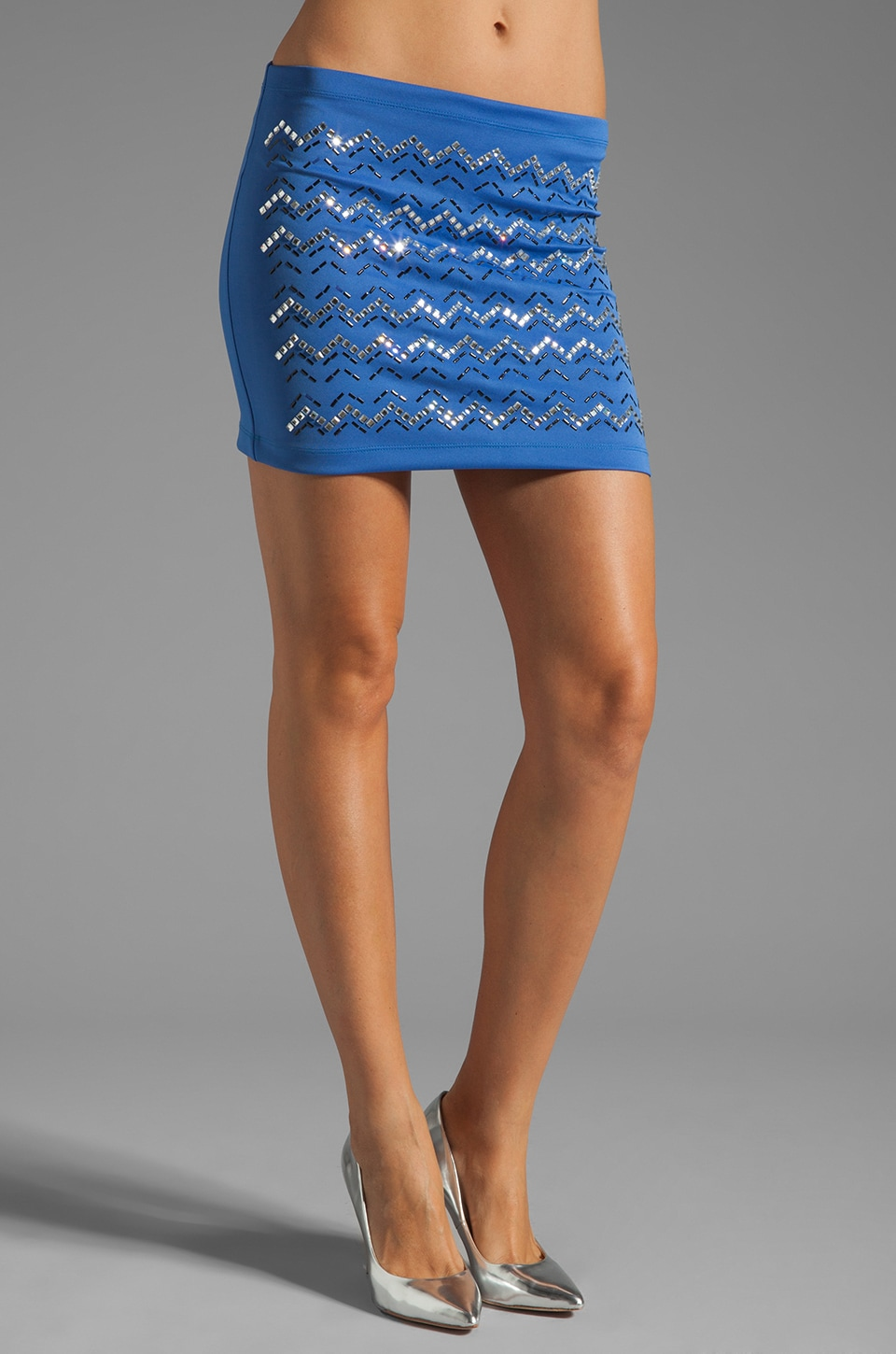 Clover Canyon Zig Zag Rhinestone Neoprene Skirt in Blue