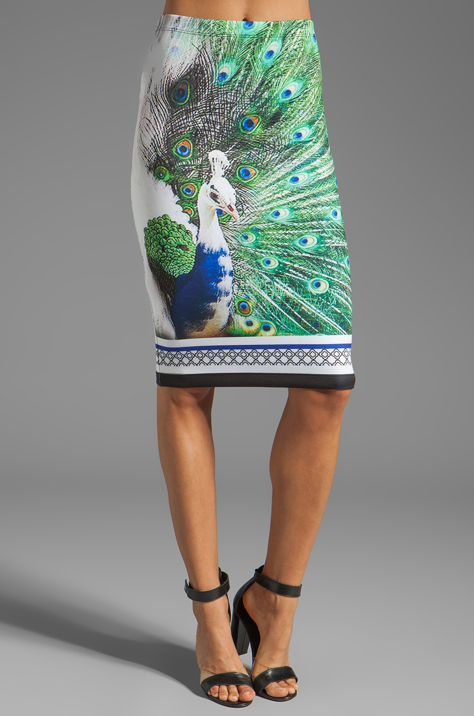 Clover Canyon Peacock Neoprene Skirt in Multi