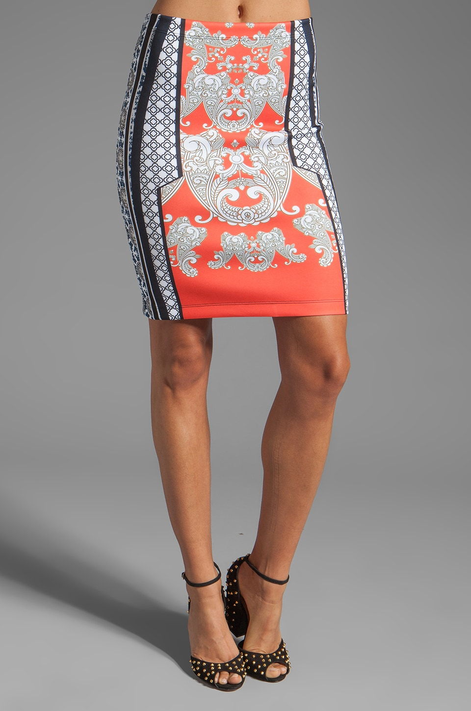 Clover Canyon Bollywood Neoprene Skirt in Orange