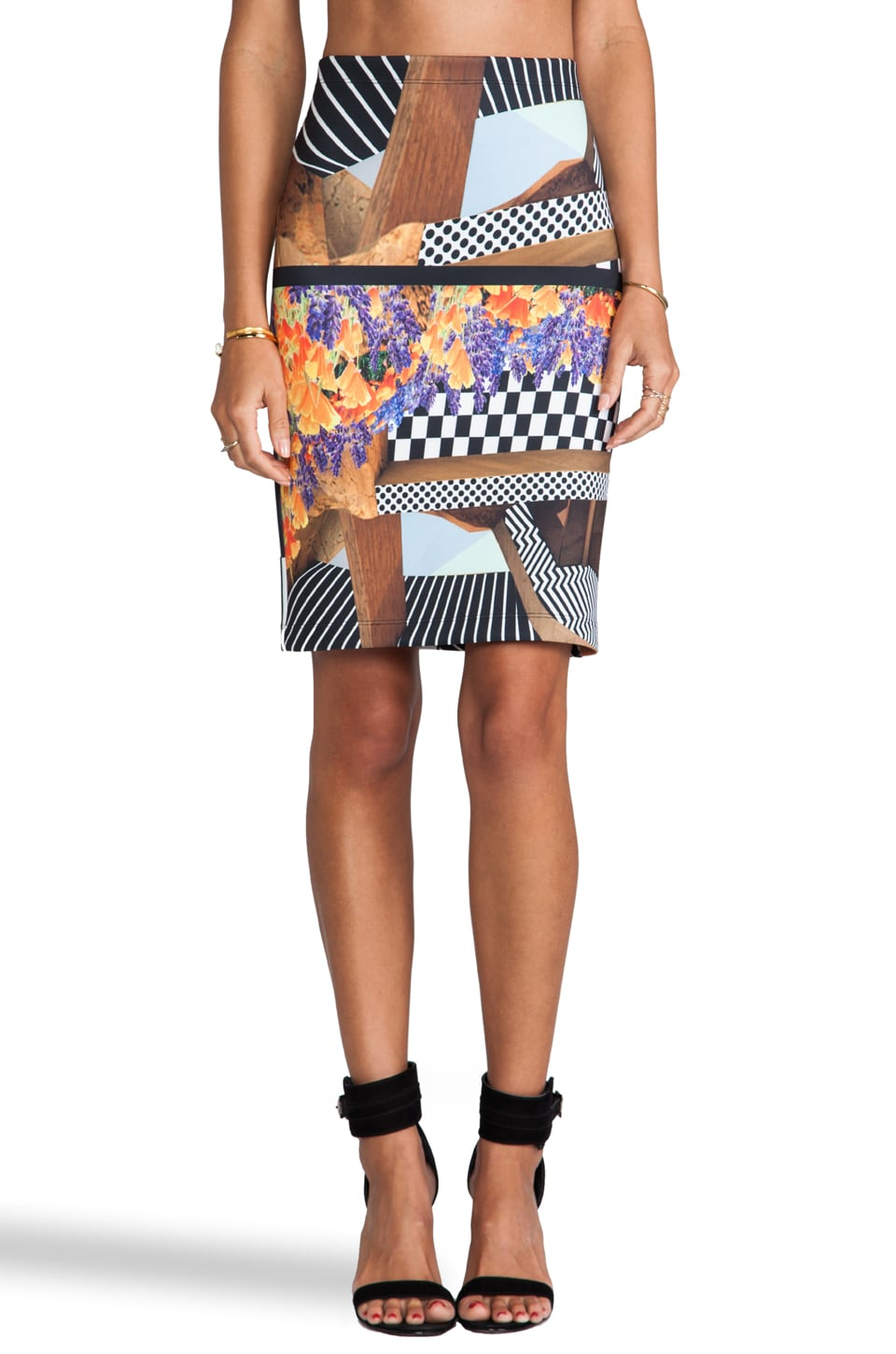 Clover Canyon Lautner Land Neoprene Skirt in Multi