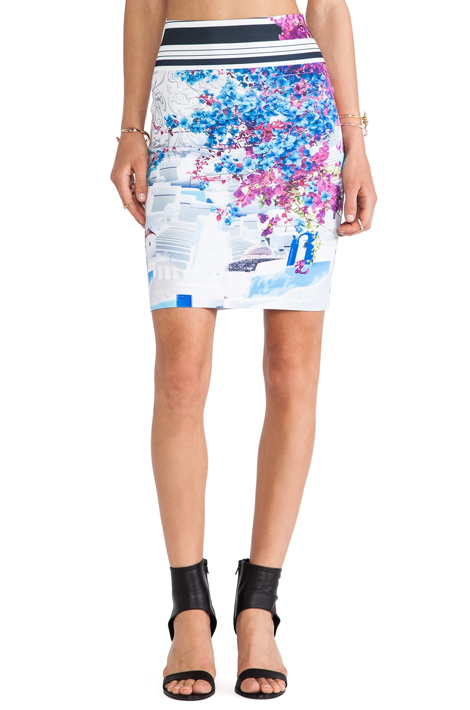 Clover Canyon Santorini Stripe Neoprene Skirt in Multi