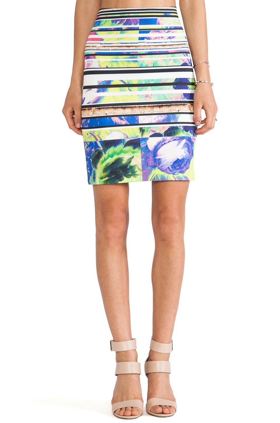 Clover Canyon Acropolis Garden Neoprene Skirt in Multi