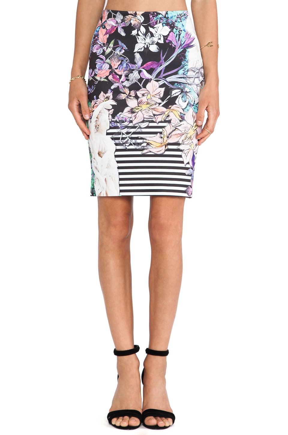 Clover Canyon Enchanted Garden Neoprene Skirt in Multi