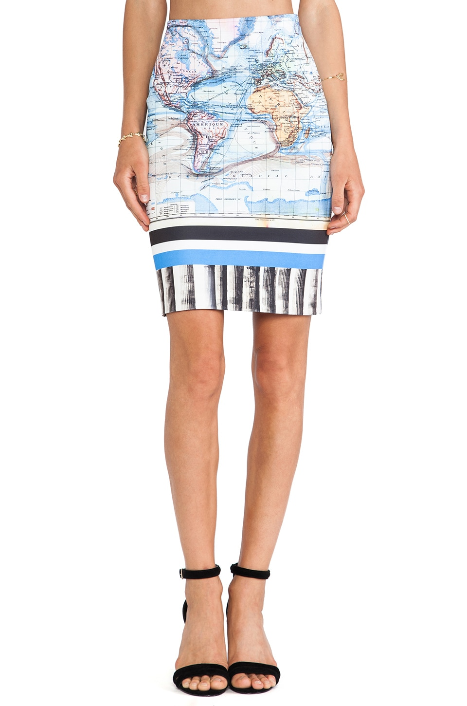 Clover Canyon Ancient World Map Neoprene Skirt in Multi
