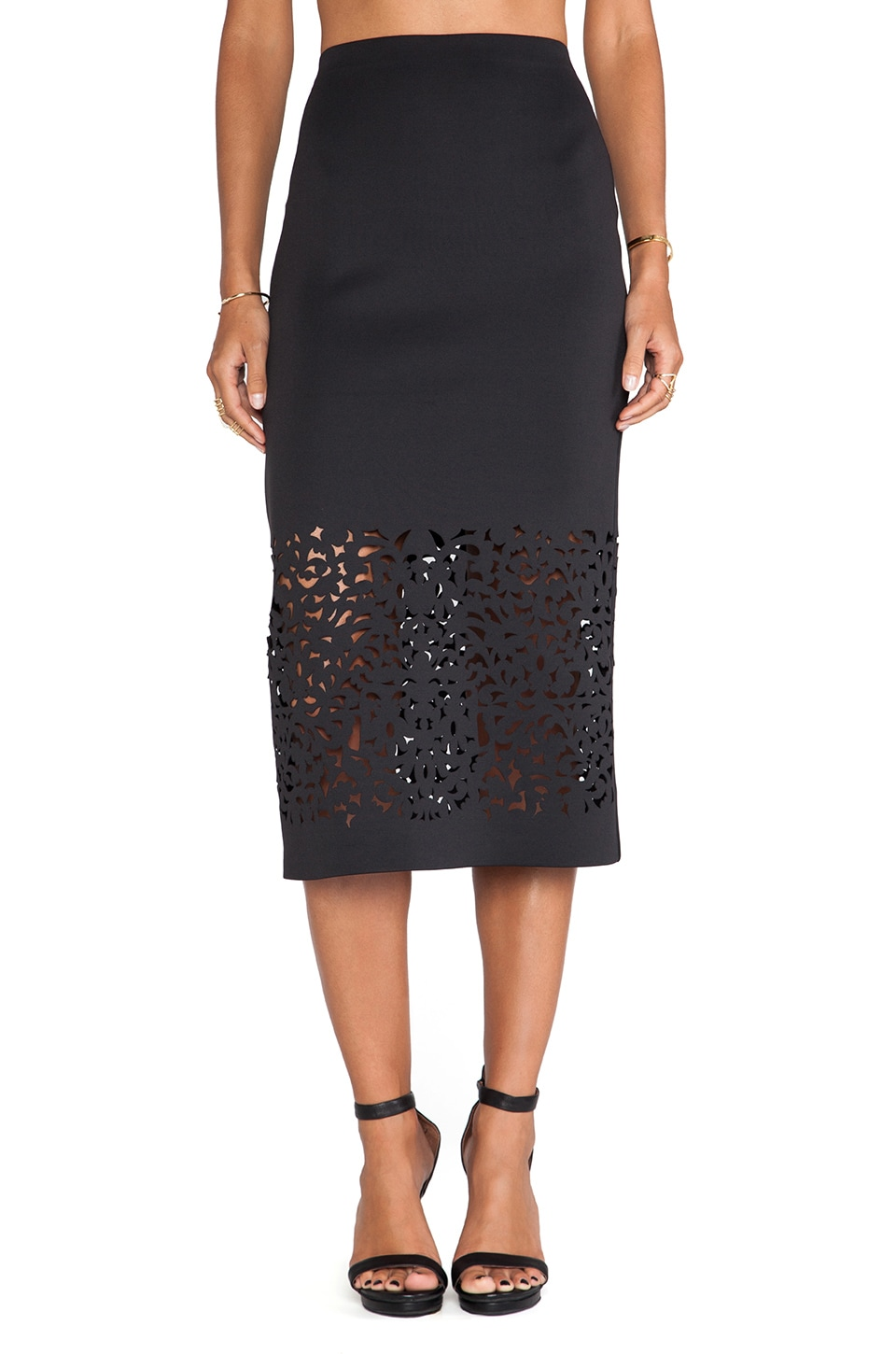 Clover Canyon Lasercut Neoprene Skirt in Black