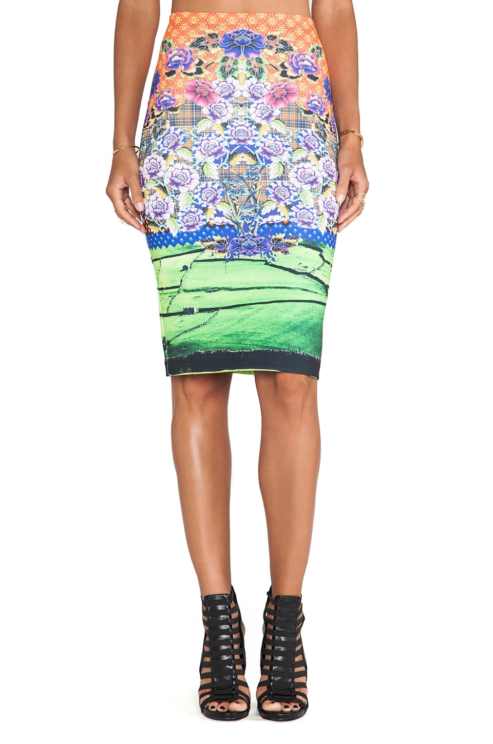 Clover Canyon Newgrange Clover Pastures Neoprene Skirt in Multi