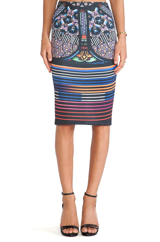 Clover Canyon Stained Glass Neoprene Skirt in Multi