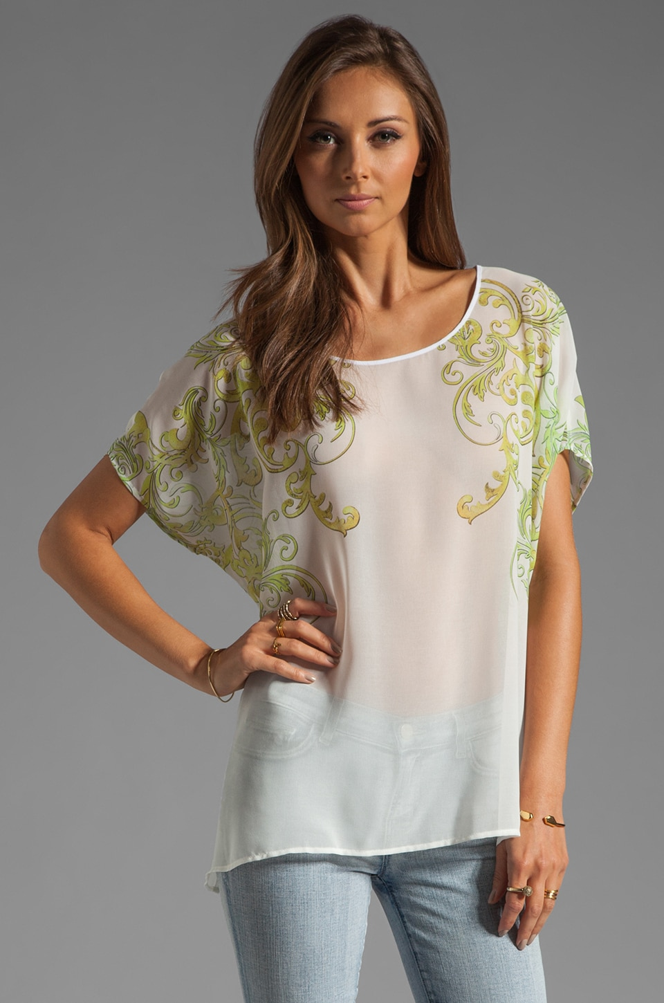 Clover Canyon Neon Filigree Short Sleeve Top in White