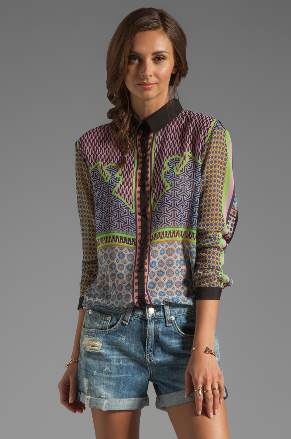 Clover Canyon Neon Cowboy Blouse in Multi