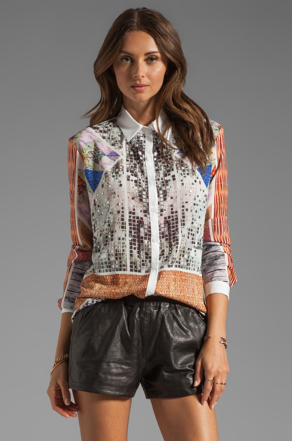 Clover Canyon Roadside Quilt Studded Blouse in Multi
