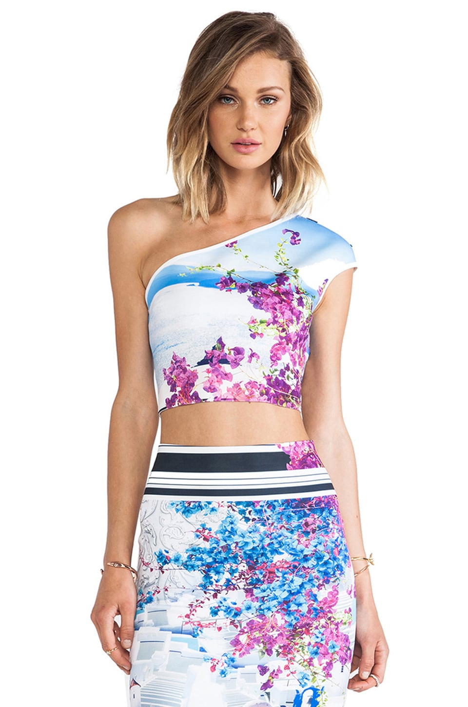 Clover Canyon Santorini Stripe Neoprene One Shoulder Crop Top in Multi