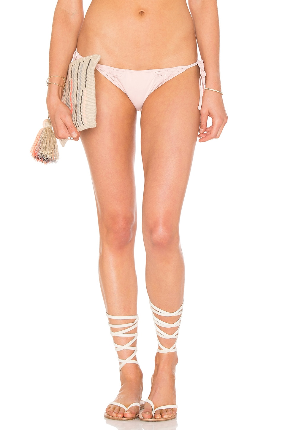 CLUBE BOSSA Launder Side Tie Bikini Bottom in Blush