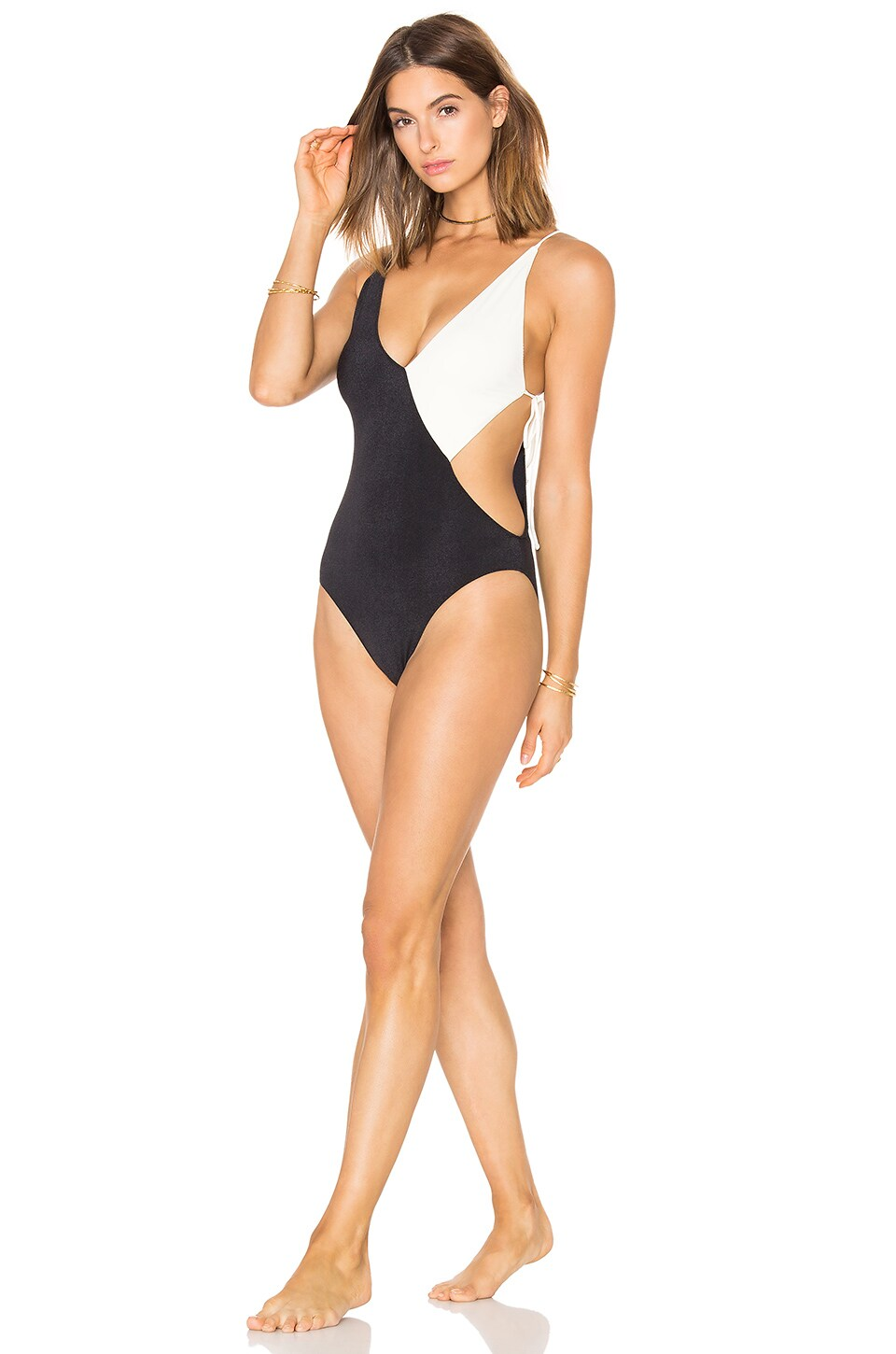 CLUBE BOSSA Collins Swimsuit in Black & Off