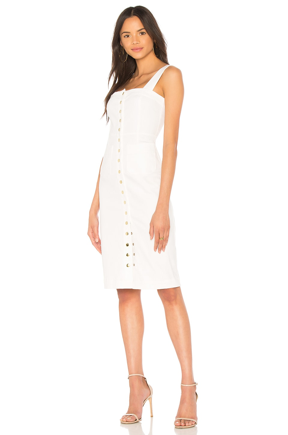 Clayton Candace Dress in White Denim