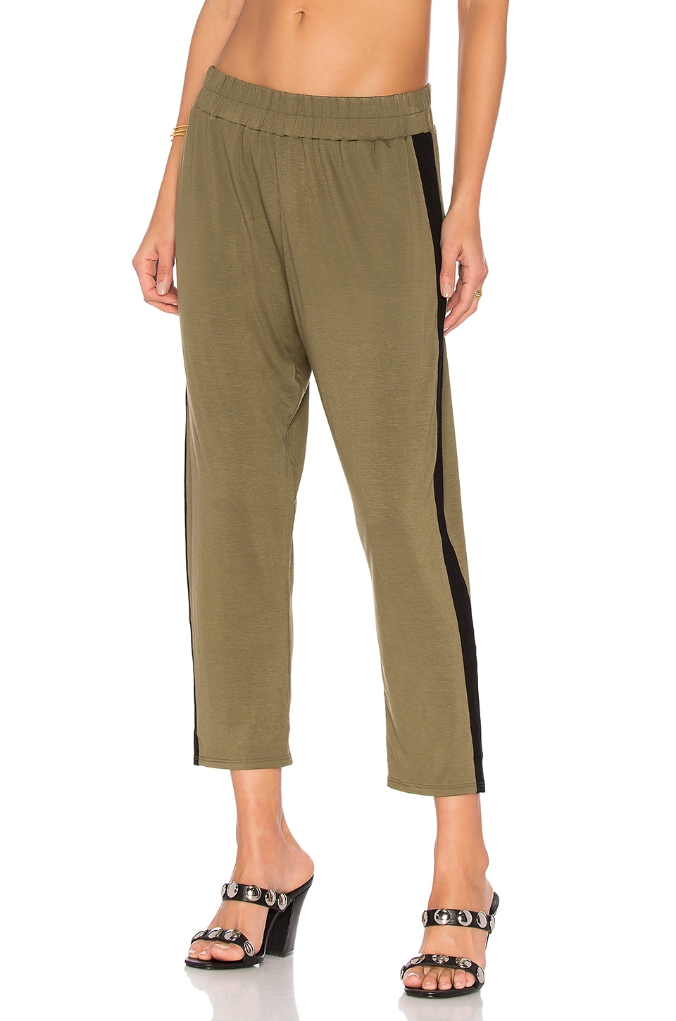 Clayton Track Pant in Olive & Black