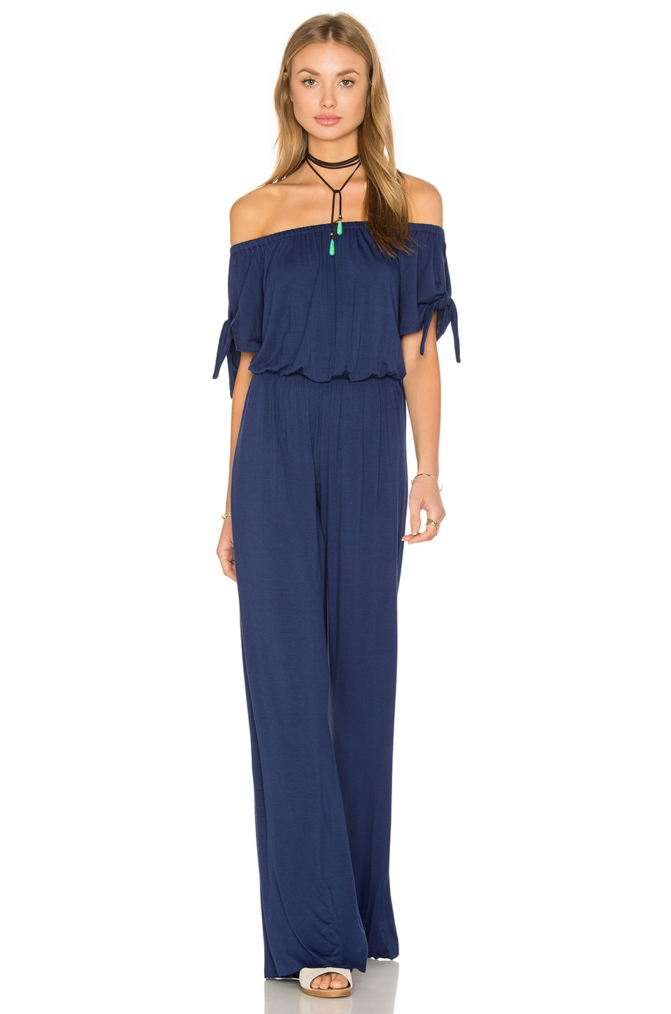 Clayton Daliah Off The Shoulder Jumpsuit in Navy