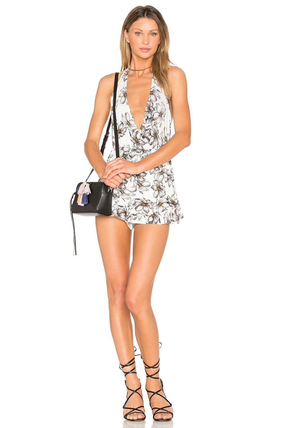 Clayton Helina Playsuit in Light Blue Floral Sketch