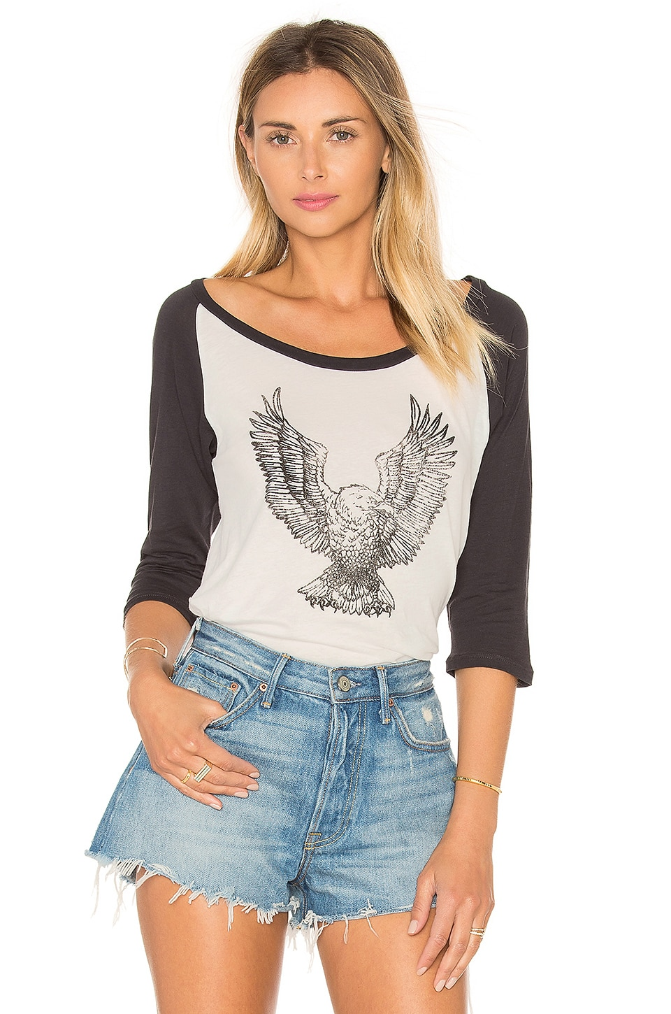 Clayton Eagle Baseball Tee in White