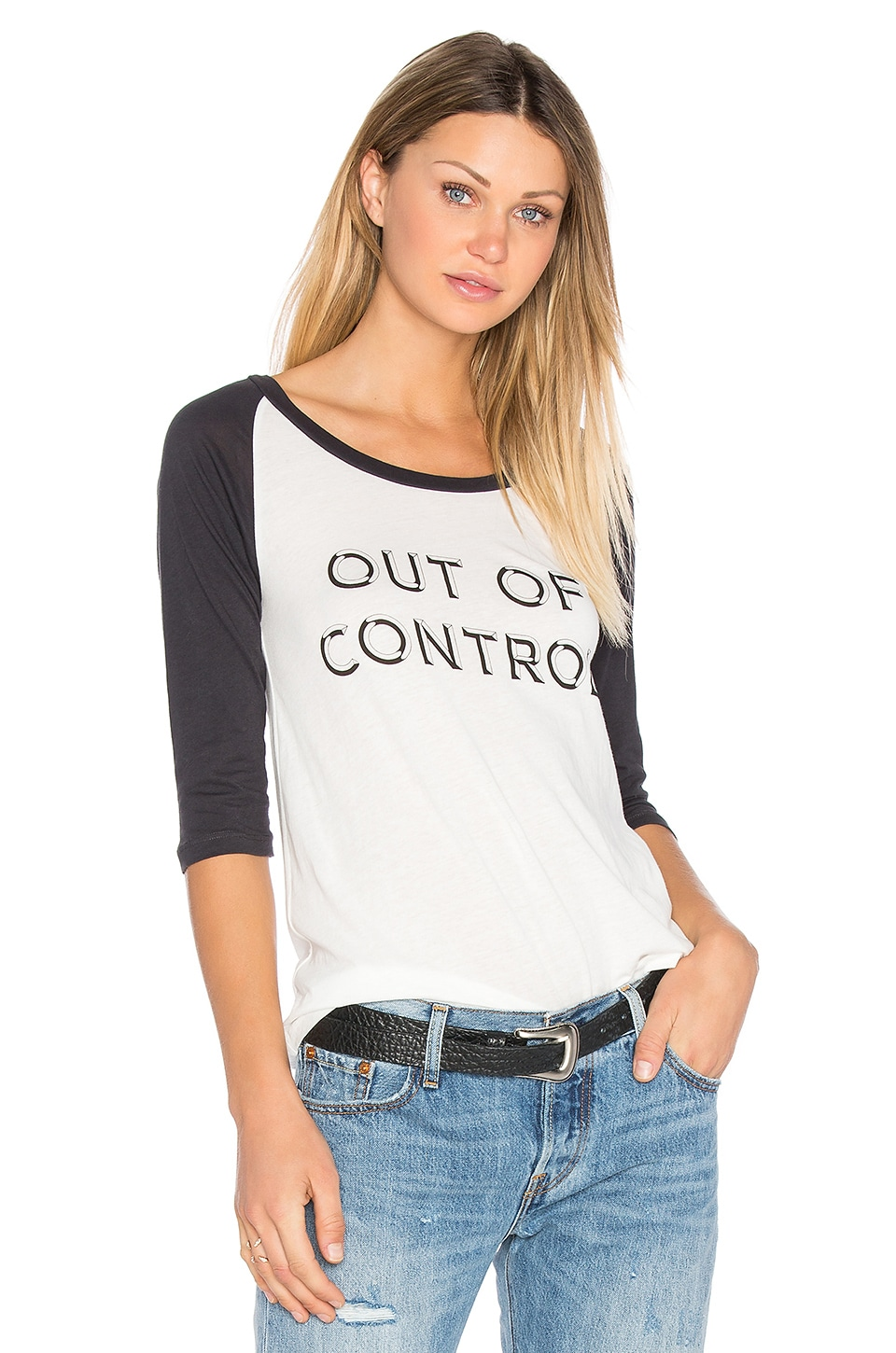 Out Of Control Baseball Tee by Clayton