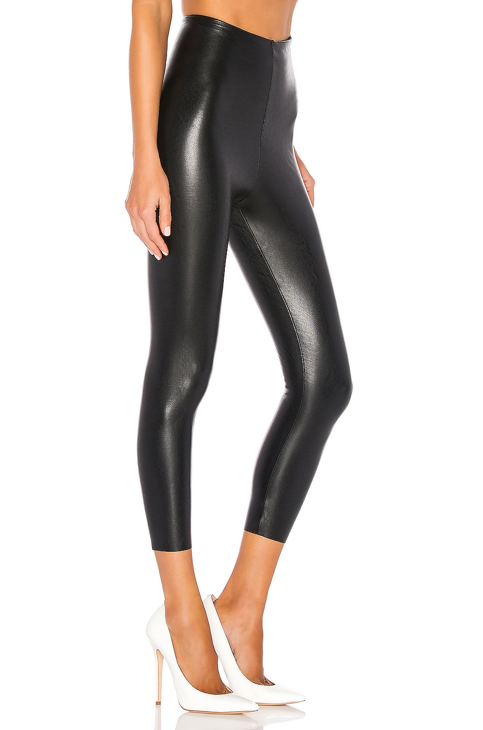 Perfect Control Faux Leather Capri, view 2, click to view large image.