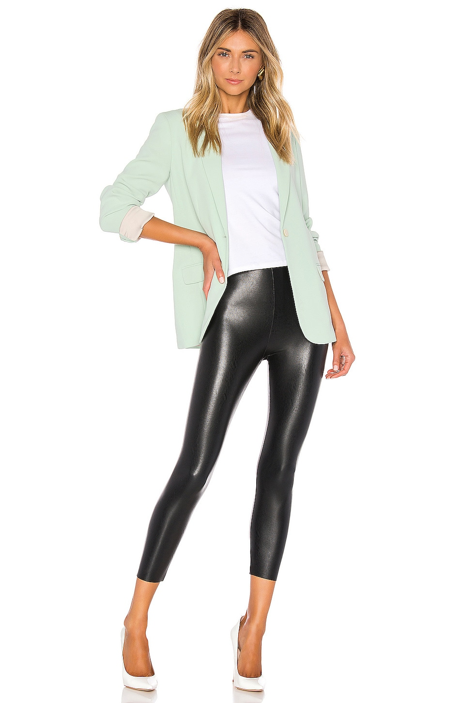 Perfect Control Faux Leather Capri, view 4, click to view large image.