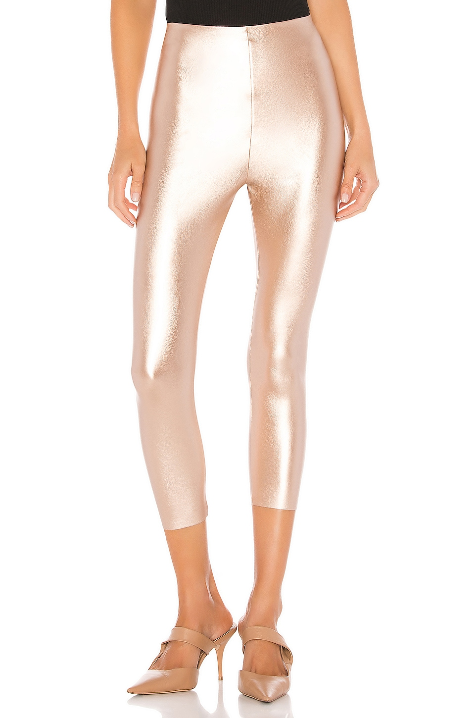 Commando Perfect Control Faux Leather Capri in Rose Gold