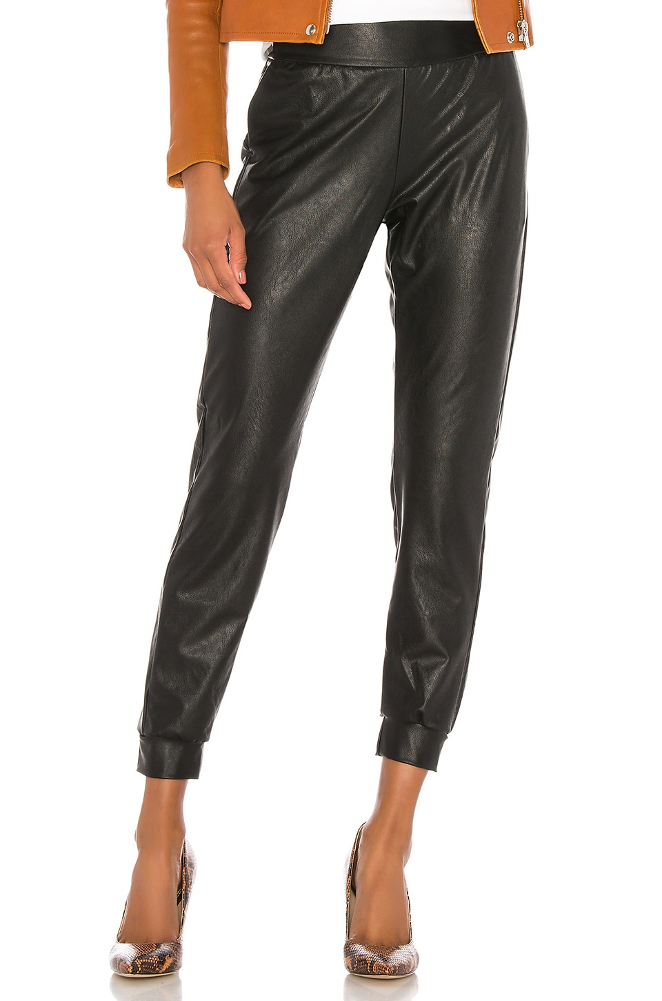 Commando Faux Leather Jogger in Black