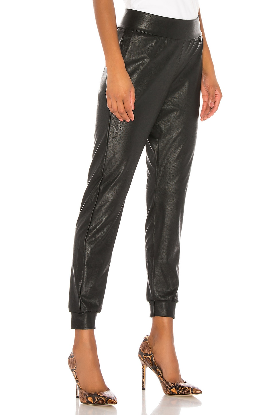 Faux Leather Jogger, view 2, click to view large image.