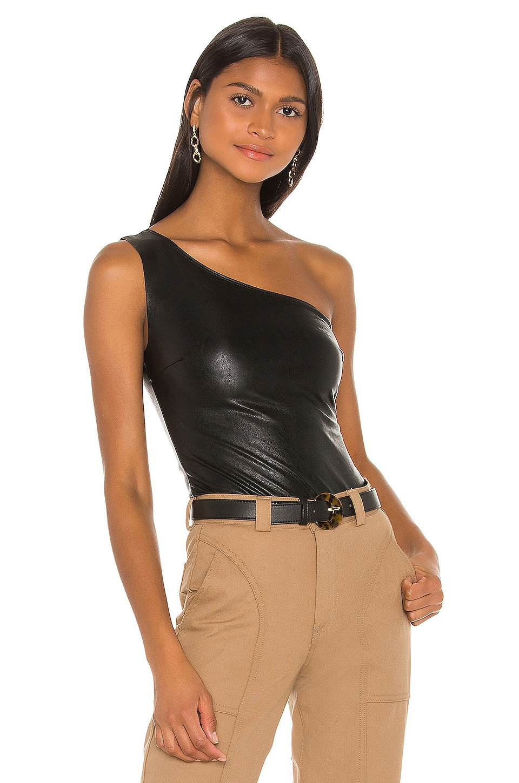 Commando Faux Leather One Shoulder Bodysuit in Black