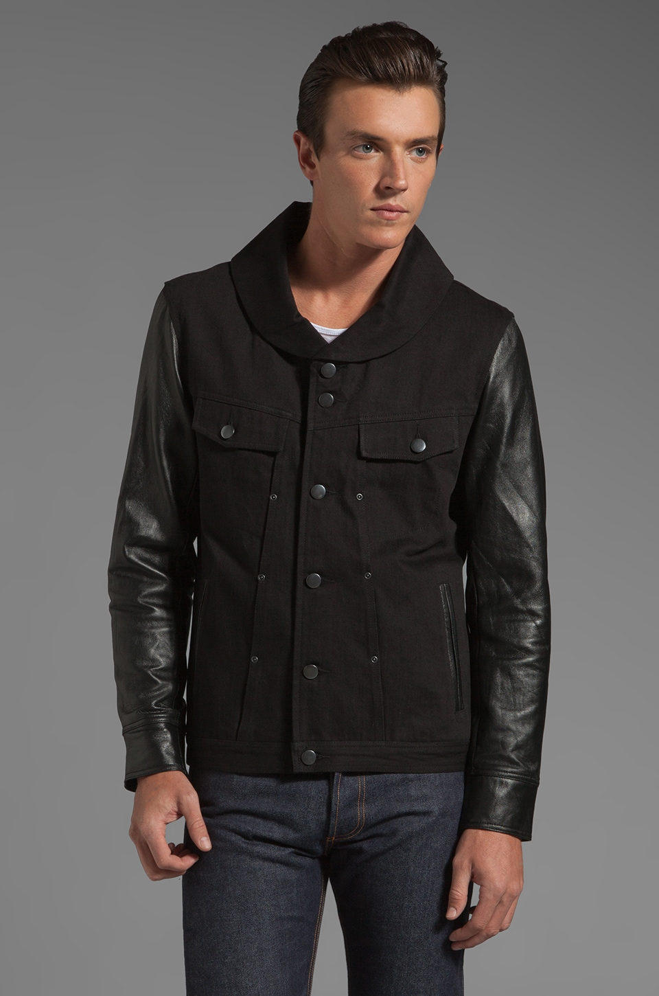 Chambers Buffalo Shawl Neck Leather Sleeve Jacket in Black/Black