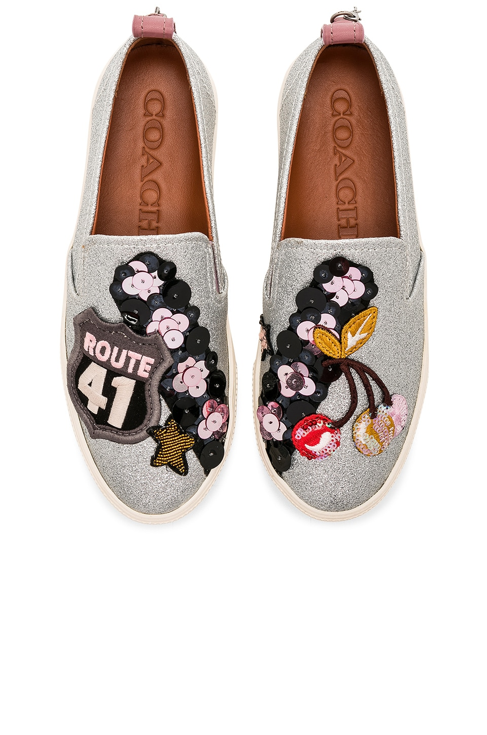 Coach 1941 Cherry Patches Slip On Sneaker in Silver