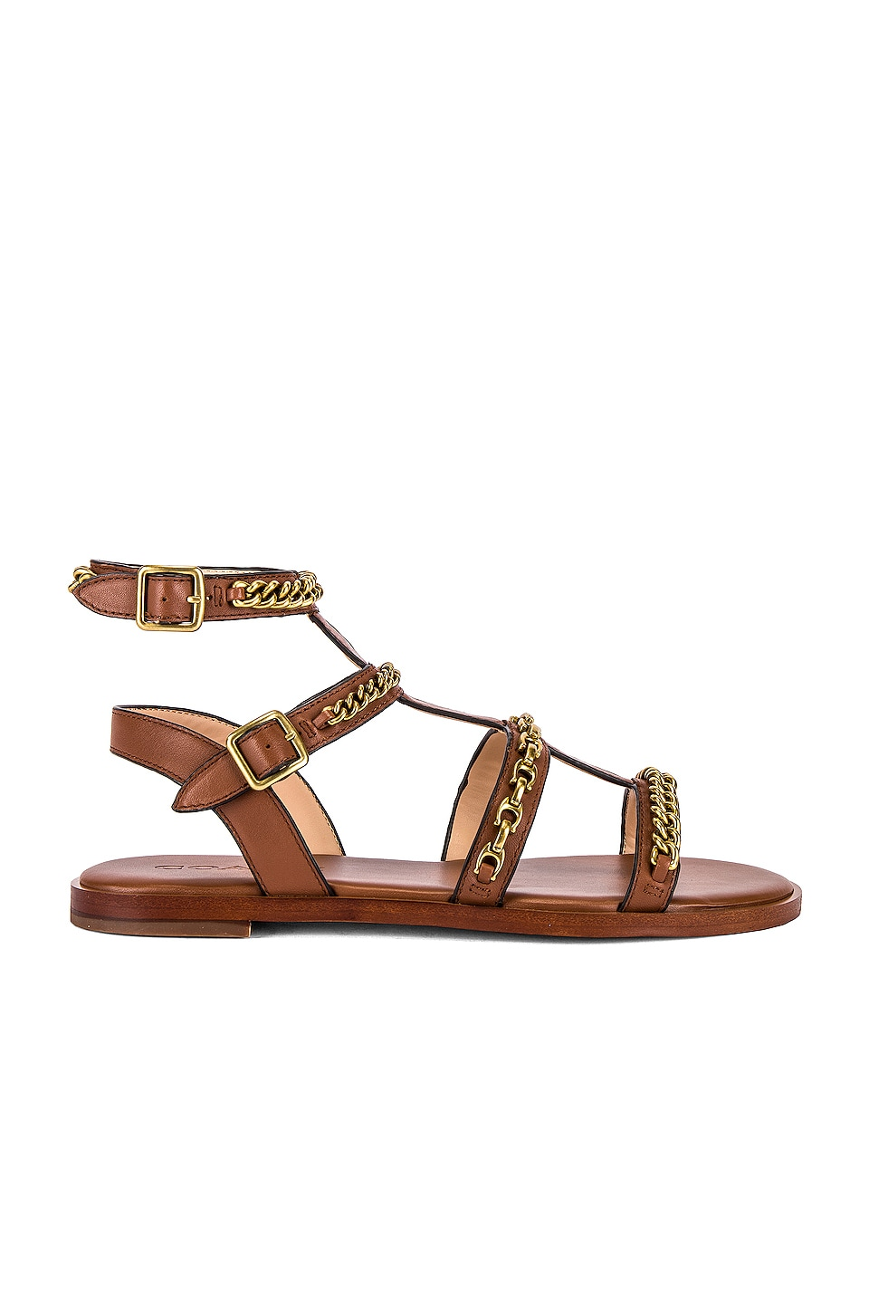 Coach 1941 Haddie Multi Chains Gladiator Sandal in Saddle