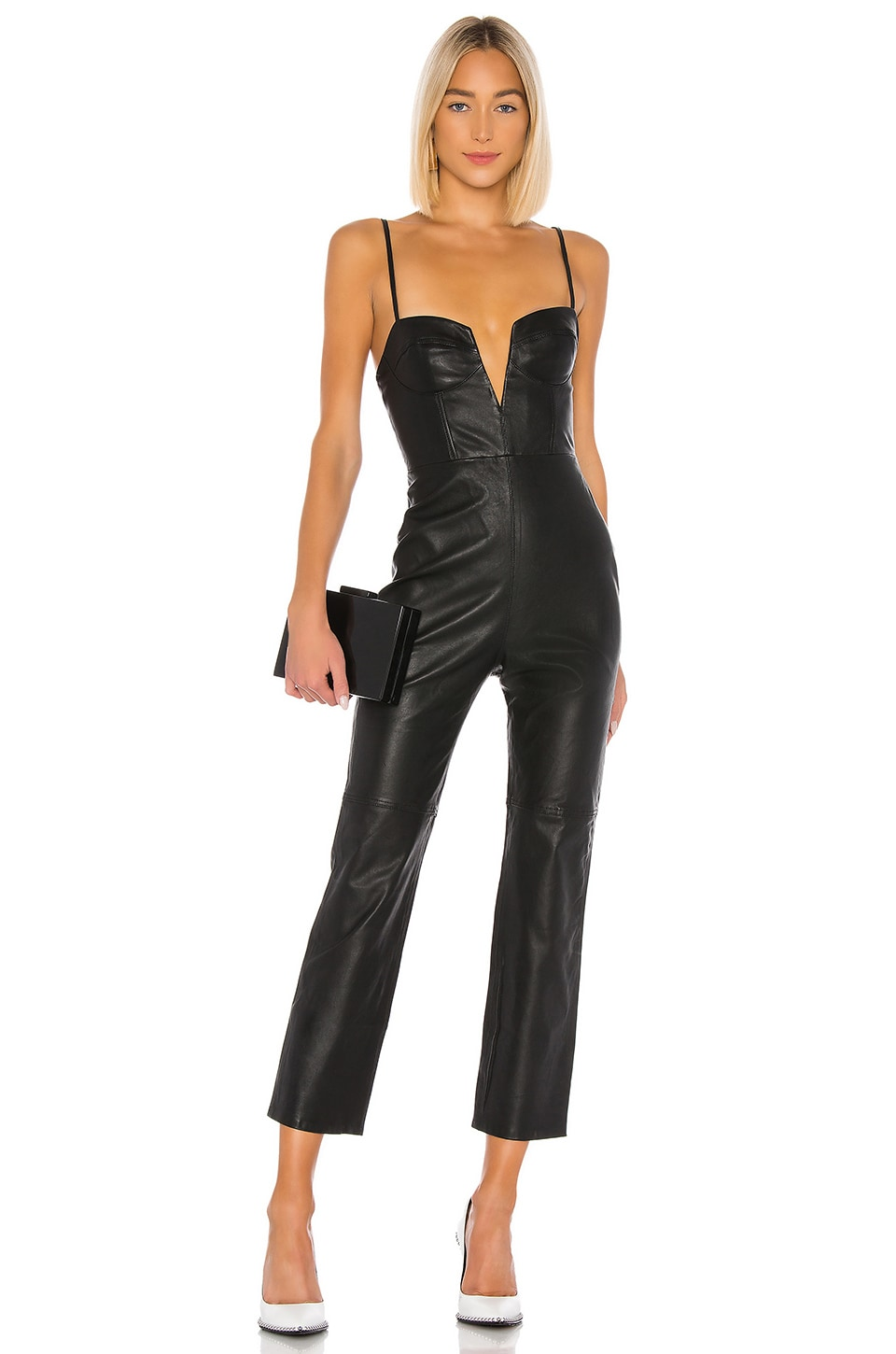 Camila Coelho Zofia Leather Jumpsuit in Black