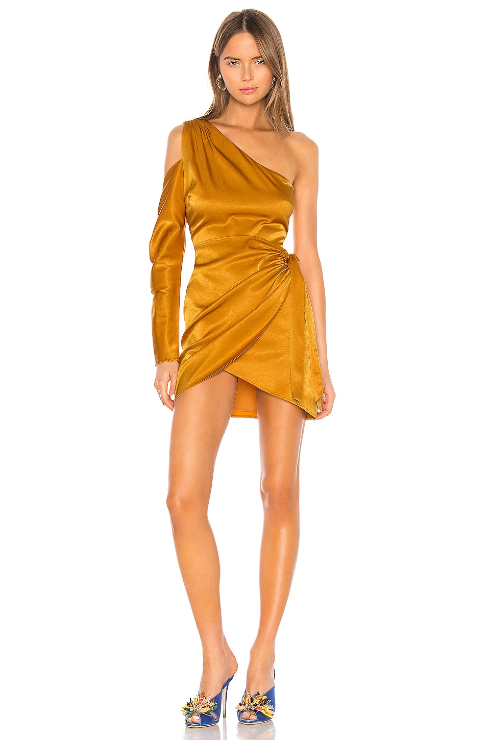 Camila Coelho Stella Mini Dress in Gold