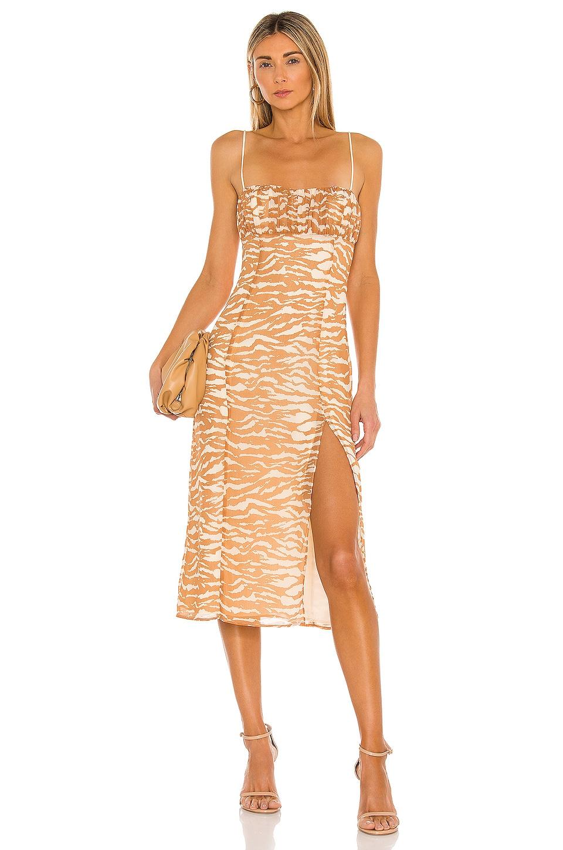 Camila Coelho Bailee Midi Dress in Brown Zebra
