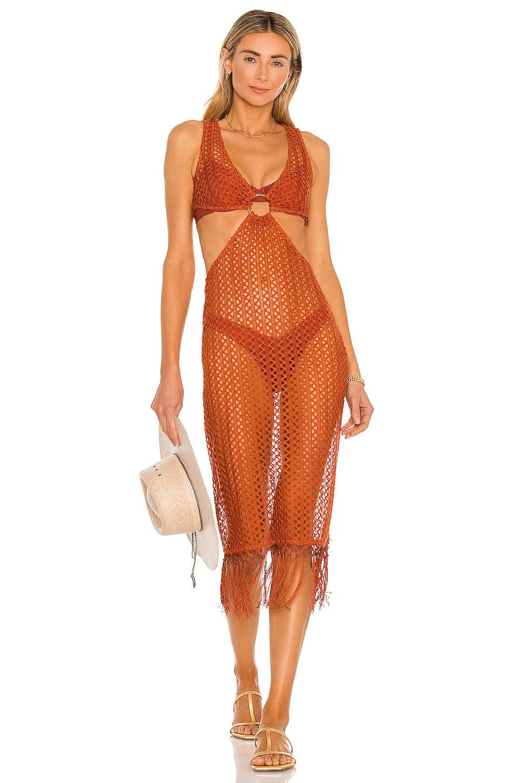 Camila Coelho Landry Midi Dress in Rust